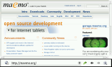 Browser showing maemo.org